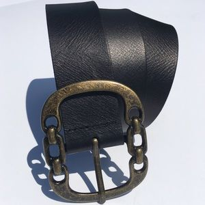 Nine West Chain Link Black Leather Belt M